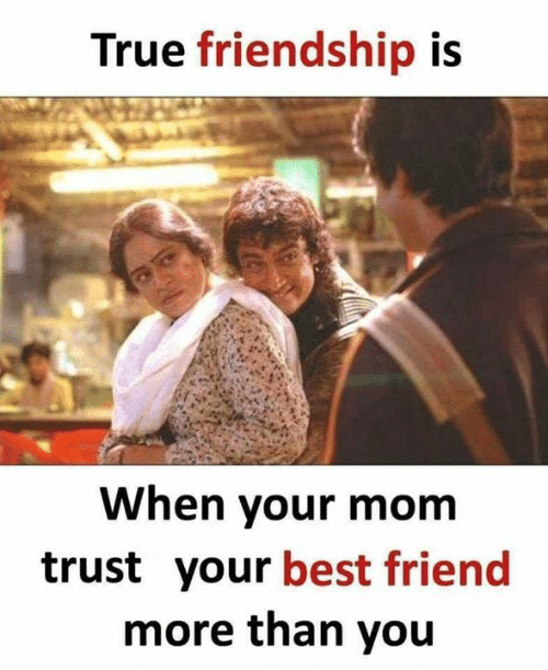 Best Friend, Memes, and True: True friendship is  When your mom  trust your best friend  more than you