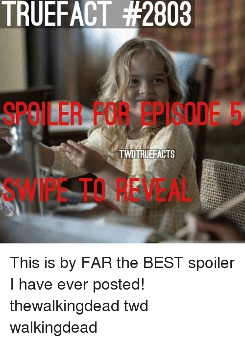 Memes, Best, and 🤖: TRUEFACT #2803  SPOILER FOR EPISODE 5  TWDTRUEFACTS  SWIPE TO REVEAL This is by FAR the BEST spoiler I have ever posted! thewalkingdead twd walkingdead
