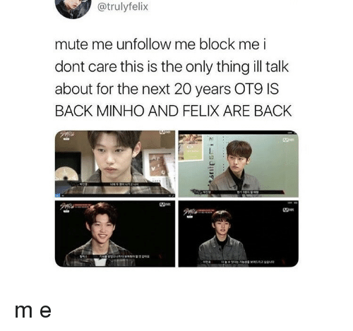 Mute, Back, and Next: @trulyfelix  mute me unfollow me block me i  dont care this is the only thing ill talk  about for the next 20 years OT9 IS  BACK MINHO AND FELIX ARE BACK m e