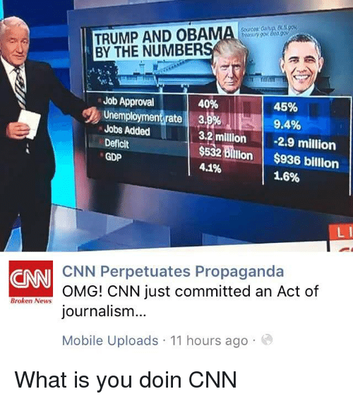 "Blackpeopletwitter, cnn.com, and Funny: TRUMP AND OBAMA mens '  BY THE NUMBER  Job Approval  45%  9.4%  124  40%  ""To unemploymeneratel ahsul  Jobs Added  Deficit  GDP  3.2 million2.9 million  532$936 billion  4.1%  1.6%  CNN Perpetuates Propaganda  OMG! CNN just committed an Act of  journalism...  Mobile Uploads 11 hours ago  CNN  Broken News What is you doin CNN"