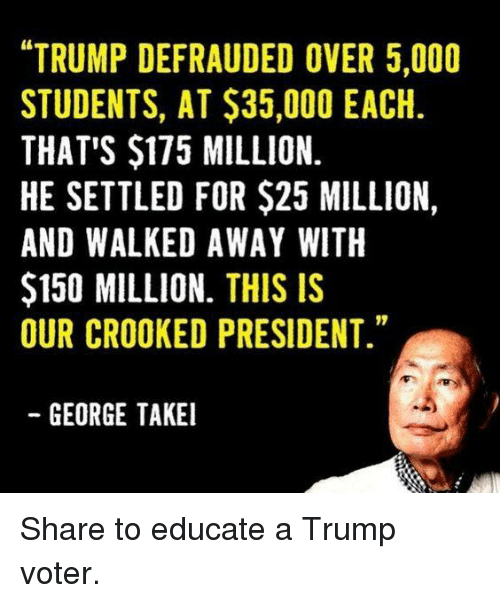 """Trump, George Takei, and President: """"TRUMP DEFRAUDED OVER 5,000  STUDENTS, AT $35,000 EACH  THAT'S $175 MILLION.  HE SETTLED FOR $25 MILLION,  AND WALKED AWAY WITH  $150 MILLION. THIS IS  OUR CROOKED PRESIDENT.""""  GEORGE TAKEI Share to educate a Trump voter."""