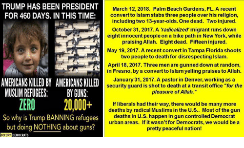 """Guns, Muslim, and New York: TRUMP HAS BEEN PRESIDENT  FOR 460 DAYS. IN THIS TIME:  March 12, 2018. Palm Beach Gardens, FL. A recent  convert to Islam stabs three people over his religion,  including two 13-year-olds. One dead. Two injured  October 31, 2017. A 'radicalized' migrant runs down  eight innocent people on a bike path in New York, while  praising Allah. Eight dead. Fifteen injured  May 19, 2017. A recent convert in Tampa Florida shoots  two people to death for disrespecting Islam.  April 18, 2017. Three men are gunned down at random,  in Fresno, by a convert to Islam yelling praises to Allah  January 31, 2017. A pastor in Denver, working as a  security guard is shot to death at a transit office """"for the  pleasure of Allah.""""  AMERICANS KILLED BY AMERICANS KILLED  MUSLIM REFUGEESBY GUNS:  ZERO 20,000+  So why is Trump BANNING refugees  but doing NOTHING about quns?  If liberals had their way, there would be many more  deaths by radical Muslims in the U.S.. Most of the gun  deaths in U.S. happen in gun controlled Democrat  urban areas. If it wasn't for Democrats, we would be a  pretty peaceful nation!  OCCUPY DEMOCRATS"""