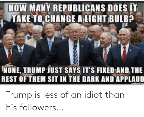 Trump, Idiot, and Followers: Trump is less of an idiot than his followers…