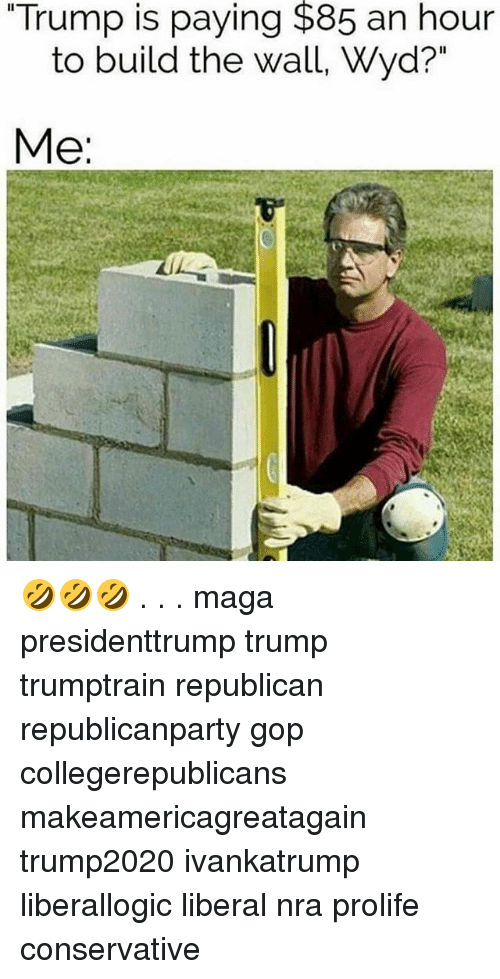 "Memes, Wyd, and Trump: ""Trump is paying $85 an hour  to build the wall, Wyd?""  Me 🤣🤣🤣 . . . maga presidenttrump trump trumptrain republican republicanparty gop collegerepublicans makeamericagreatagain trump2020 ivankatrump liberallogic liberal nra prolife conservative"