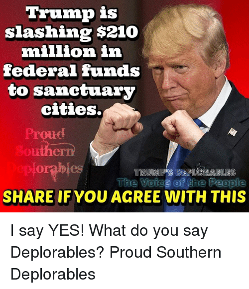 Trump, Proud, and Yes: Trump is  slashing $210  million in  federal funds  to sanctuary  cities,  TRUM  S IDEPLORABLES  SHARE IF YOU AGREE WITH THIS I say YES! What do you say Deplorables?  Proud Southern Deplorables