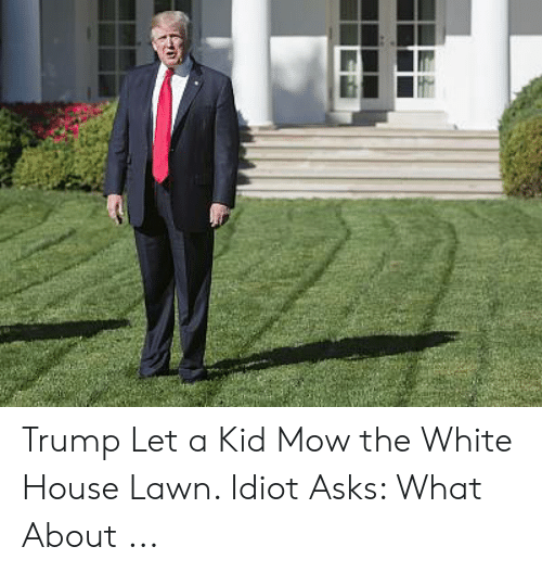 Trump Let A Kid Mow The White House Lawn Idiot Asks What