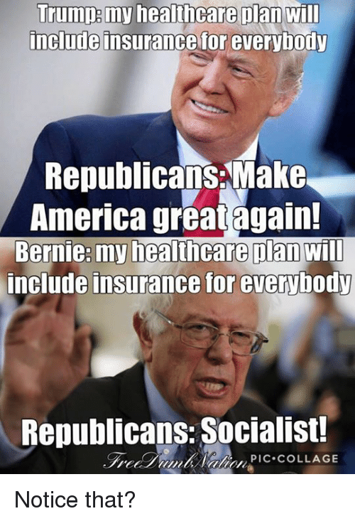 Memes, Collage, and Socialist: Trump my healthcare plan will  include insurance for everybody  Republicans Make  America great again!  Bernie: my healthcare Dan  Will  include insurance for everybody  Republicans Socialist!  PIC COLLAGE Notice that?