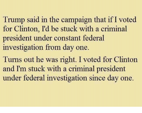 Trump, Clinton, and One: Trump said in the campaign that if I voted  for Clinton, I'd be stuck with a criminal  president under constant federal  investigation from day one.  Turns out he was right. I voted for Clinton  and I'm stuck with a criminal president  under federal investigation since day one.