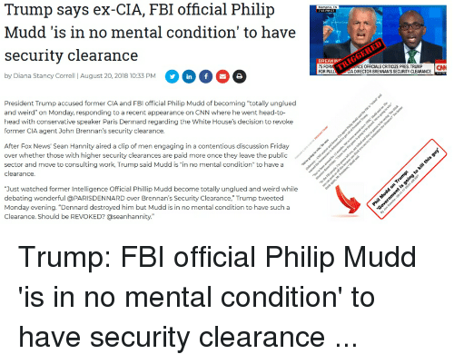 4be42f3630 Trump Says Ex-Cia FBI Official Philijp Mudd 'Is in No Mental ...