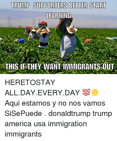 trump supporters better start learning this if they wantimmigrants out 12390326 ✅ 25 best memes about all day every day all day every day memes