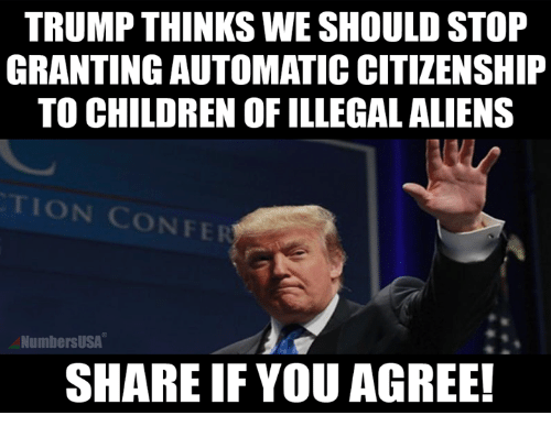 Children, Memes, and Aliens: TRUMP THINKS WE SHOULD STOP  GRANTING AUTOMATIC CITIZENSHIP  TO CHILDREN OF ILLEGAL ALIENS  TION CONFER  NumbersUSA  SHARE IF YOU AGREE!