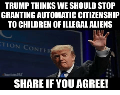 Children, Memes, and Aliens: TRUMP THINKS WE SHOULD STOP  GRANTING AUTOMATIC CITIZENSHIP  TO CHILDREN OF ILLEGAL ALIENS  TION CONFE  NumbersUSA  SHARE IF YOU AGREE!