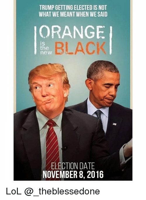 trumpgetting elected is not what we meant when we said 2851875 search trump orange memes on me me,Orange Is The New Black Meme Trump