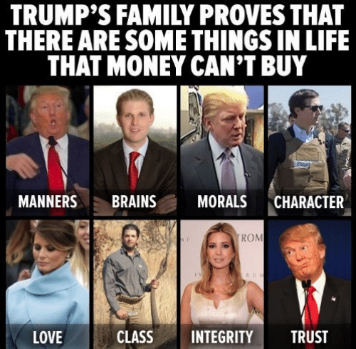 Brains, Family, and Life: TRUMP'S FAMILY PROVES THAT  THERE ARE SOME THINGS IN LIFE  THAT MONEY CAN'T BUY  MANNERS BRAINS MORALS CHARACTER  ROM  LOVE  CLASSINTEGRITY TRUST
