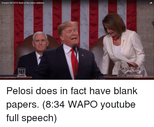 State of the Union Address, youtube.com, and Blank: Trump's full 2019 State of the Union address