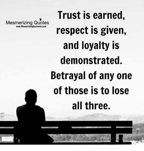 Quotes About Loyalty And Betrayal Impressive Trust Is Earned Mesmerizing Quotes WwwMesmerizingQuotes48ucom Respect