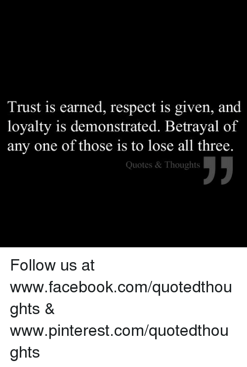Trust Is Earned Respect Is Given And Loyalty Is Demonstrated