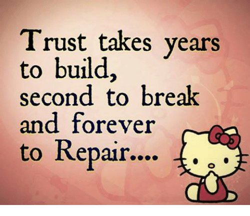 Trust Takes Years To Build Second To Break And Forever To Repair