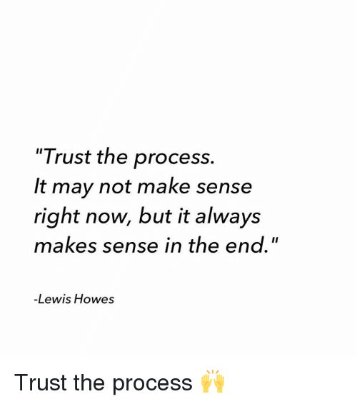 """Memes, 🤖, and May: """"Trust the process.  It may not make sense  right now, but it always  makes sense in the end.""""  -Lewis Howes Trust the process 🙌"""