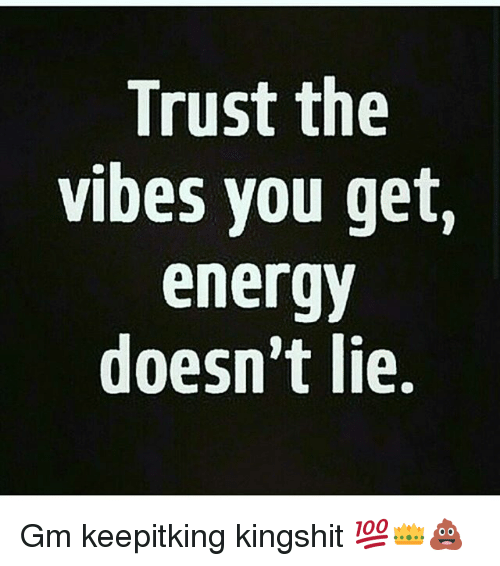 Trust the Vibes You Get Energy Doesn't Lie Gm Keepitking Kingshit