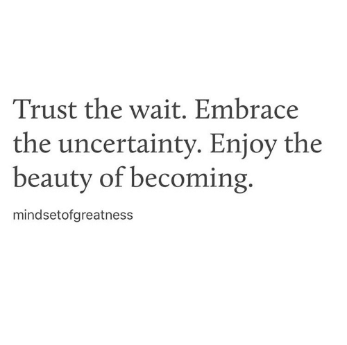 Uncertainty, Trust, and Beauty: Trust the wait. Embrace  the uncertainty. Eniov the  beauty of becoming.  mindsetofgreatness