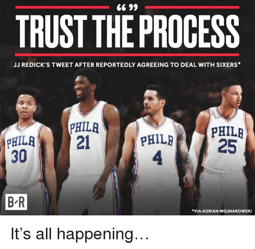 TRUST THEPROCESS JJ REDICK S TWEET AFTER REPORTEDLY AGREEING TO DEAL ... 4a3762ce9