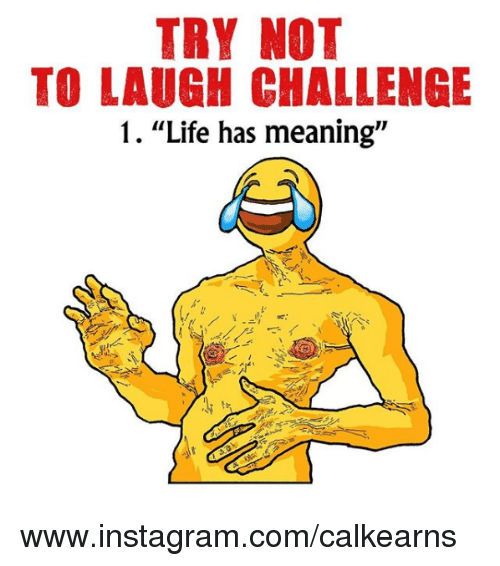 "Instagram, Life, and Meaning: TRY NOT  TO LAUGH CHALLENGE  1. ""Life has meaning"" www.instagram.com/calkearns"