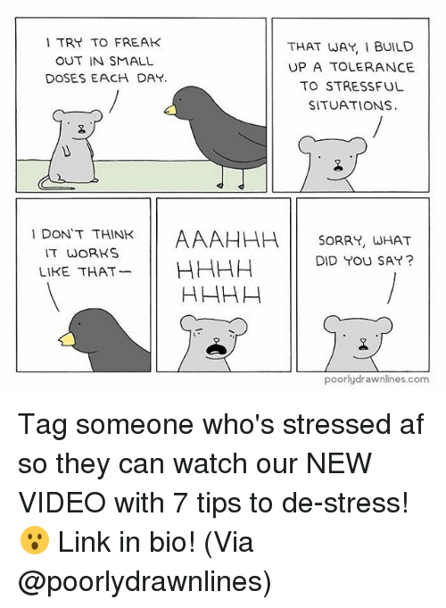Af, Memes, and Sorry: TRY TO FREAK  THAT WAY, I BUILD  OUT IN SMALL  UPA TOLERANCE  DOSES EACH DAY.  TO STRESSFUL  SITUATIONS  DON'T THINK  AAAHHH SORRY, WHAT  IT WORKS  LIKE THAT  HHHH DID YOU SAY?  poorly drawnlines.com Tag someone who's stressed af so they can watch our NEW VIDEO​ with 7 tips to de-stress! 😮 Link in bio! (Via @poorlydrawnlines)