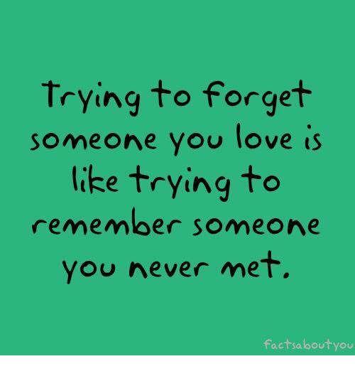 Trying To Forget Someone You Love Is Like Trying To Remember Someone
