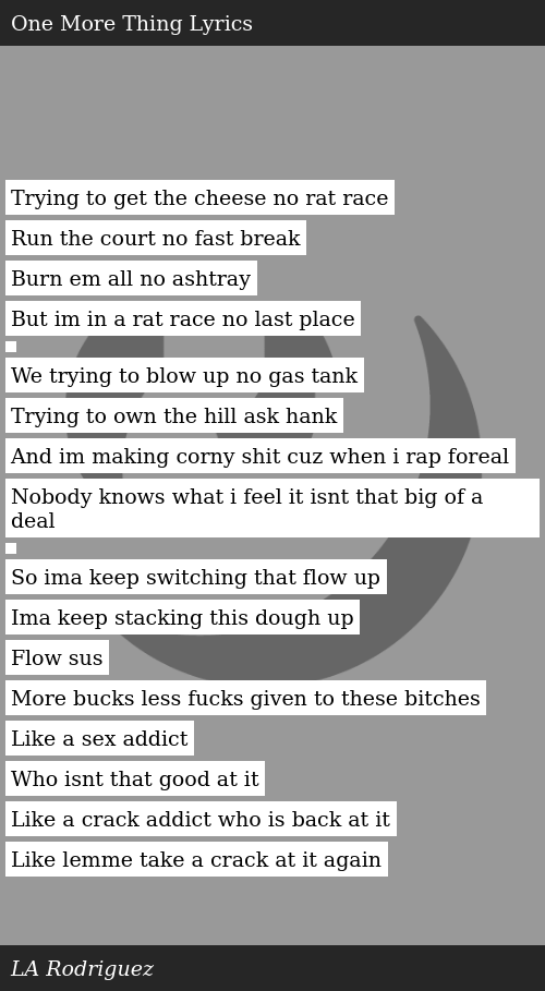 Trying To Get The Cheese No Rat Race Run The Court No Fast Break Burn Em All No Ashtray But Im In A Rat Race No Last Place We Trying To Blow Uh, nobody know nada we all know the fate of assata if cuba don't harbor nobody know i'm harder. cheese no rat race run the court