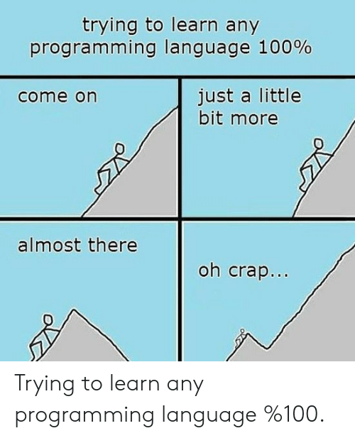 Programming, Language, and Programming Language: trying to learn any  progra m ming language 100%  just a little  bit more  come on  almost there  oh crap.. Trying to learn any programming language %100.