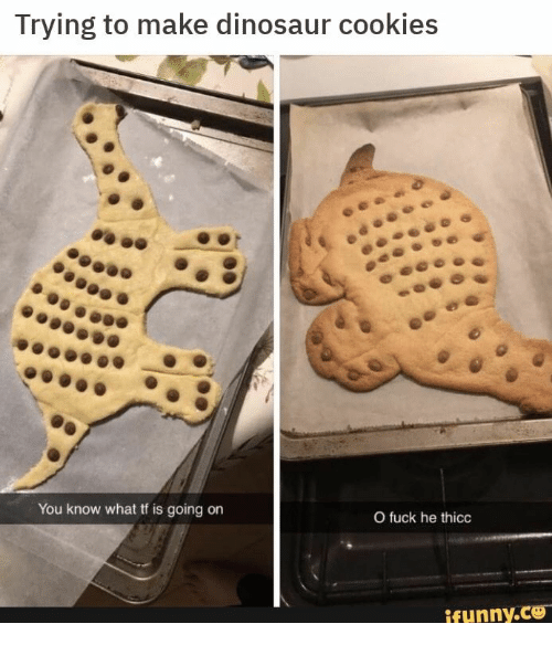 Cookies, Dinosaur, and Funny: Trying to make dinosaur cookies  You know what tf is going on  O fuck he thicc  funny.CO