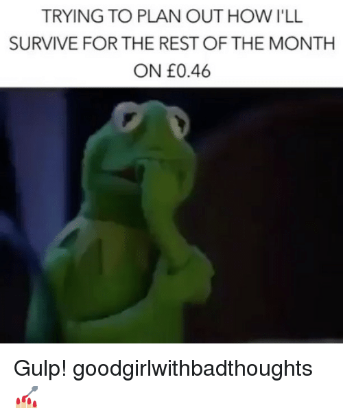 Memes, 🤖, and How: TRYING TO PLAN OUT HOW I'LL  SURVIVE FOR THE REST OF THE MONTH  ON £0.46 Gulp! goodgirlwithbadthoughts 💅🏼