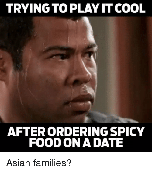 Asian, Food, and Cool: TRYING TO PLAY IT COOL  AFTERORDERING SPICY  FOOD ON A DATE