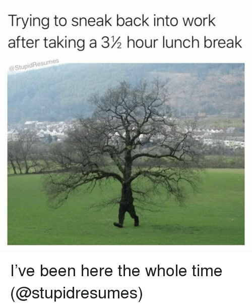 Memes, Work, and Break: Trying to sneak back into work  after taking a 3/2 hour lunch break  StupidResumes I've been here the whole time (@stupidresumes)