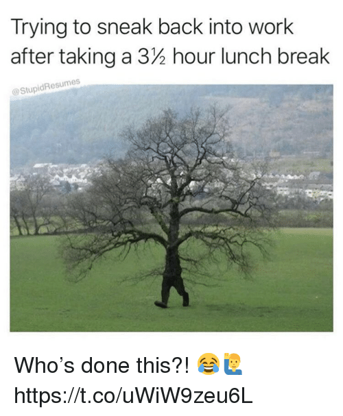 Work, Break, and Back: Trying to sneak back into work  after taking a 32 hour lunch break  @StupidResumes Who's done this?! 😂🙋♂️ https://t.co/uWiW9zeu6L