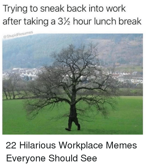 Memes, Work, and Break: Trying to sneak back into work  after taking a 32 hour lunch break  StupidResumes 22 Hilarious Workplace Memes Everyone Should See