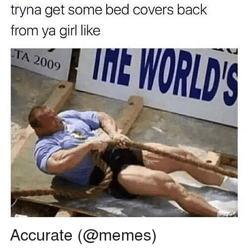 Memes, Covers, and Girl: tryna get some bed covers back  from ya girl like  LINE WORLDS  A 2009 Accurate (@memes)