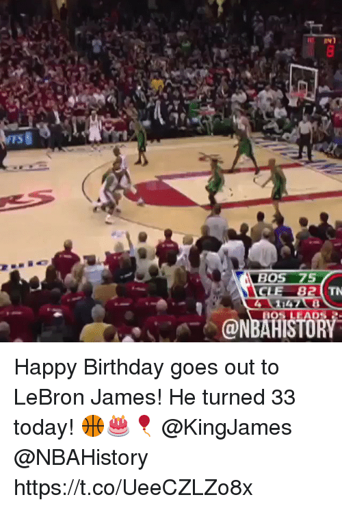 Birthday, LeBron James, and Memes: TS  BOS 75  CLE 82  @NBAHISTORY Happy Birthday goes out to LeBron James! He turned 33 today! 🏀🎂🎈 @KingJames @NBAHistory https://t.co/UeeCZLZo8x