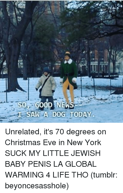 Memes, 🤖, and Eve: TSO GOOD NEWS  SAW A DOG TODAY  L Unrelated, it's 70 degrees on Christmas Eve in New York SUCK MY LITTLE JEWISH BABY PENIS LA GLOBAL WARMING 4 LIFE THO (tumblr: beyoncesasshole)