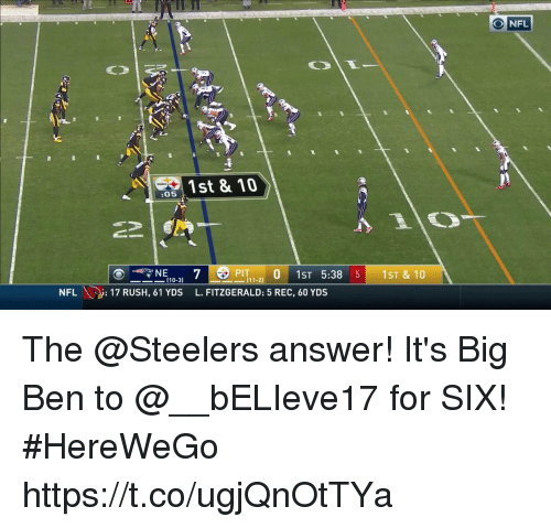 Memes, Nfl, and Rush: Tt  O NFL  1st & 10  :05  PI 0 1ST 5:38 5 1ST & 10  0-3)  NFL17 RUSH, 61 YDS L. FITZGERALD: 5 REC, 60 YDS The @Steelers answer!  It's Big Ben to @__bELIeve17 for SIX! #HereWeGo https://t.co/ugjQnOtTYa