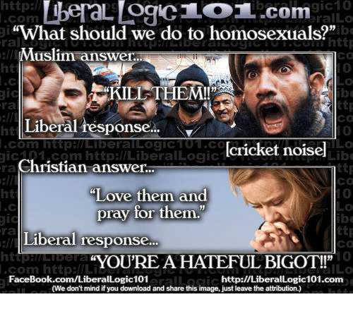 """Facebook, Love, and Memes: ttp:l  com  ralLo  What should we do to homosexuals?""""  Muslim answer..  ral  Co  0  0  ht  KIEL THEM!!  ttp  Co  0  ra  Liberal response...  ht  .com httpamLiberallLogiCTO1.C  icaa1,com http://LiberalLogic  [cricket noisel  Lib  ra  Christian answer..  ht  ttp  ca  """"Love them and  pray for them.""""  ra  Liberal response  Co  """"YOU'RE A HATEFUL BIGOT!!""""  com http://Li  FaceBook.com/LiberalLogic101  ILO  http://LiberalLogic101.com  (We don't mind if you download and share this image, just leave the attribution.)"""