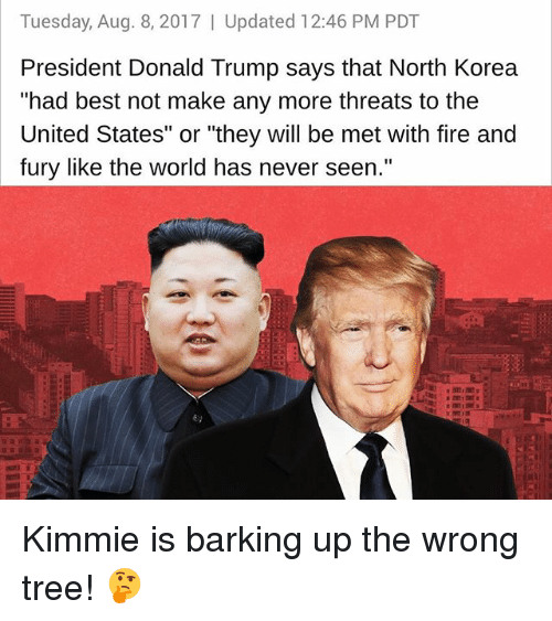 "Donald Trump, Fire, and Memes: Tuesday, Aug. 8, 2017 | Updated 12:46 PM PDT  President Donald Trump says that North Korea  ""had best not make any more threats to the  United States"" or ""they will be met with fire and  fury like the world has never seen.""  澈艘  6) Kimmie is barking up the wrong tree! 🤔"