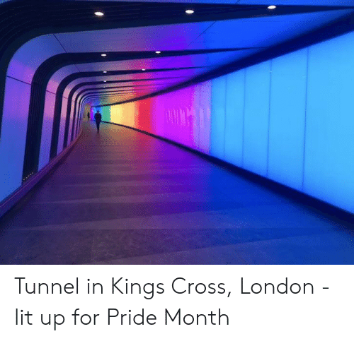 Lit, Cross, and London: Tunnel in Kings Cross, London - lit up for Pride Month