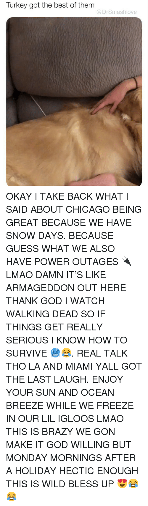 Bless Up, Chicago, and God: Turkey got the best of them  @DrSmashlove OKAY I TAKE BACK WHAT I SAID ABOUT CHICAGO BEING GREAT BECAUSE WE HAVE SNOW DAYS. BECAUSE GUESS WHAT WE ALSO HAVE POWER OUTAGES 🔌 LMAO DAMN IT'S LIKE ARMAGEDDON OUT HERE THANK GOD I WATCH WALKING DEAD SO IF THINGS GET REALLY SERIOUS I KNOW HOW TO SURVIVE 🥶😂. REAL TALK THO LA AND MIAMI YALL GOT THE LAST LAUGH. ENJOY YOUR SUN AND OCEAN BREEZE WHILE WE FREEZE IN OUR LIL IGLOOS LMAO THIS IS BRAZY WE GON MAKE IT GOD WILLING BUT MONDAY MORNINGS AFTER A HOLIDAY HECTIC ENOUGH THIS IS WILD BLESS UP 😍😂😂