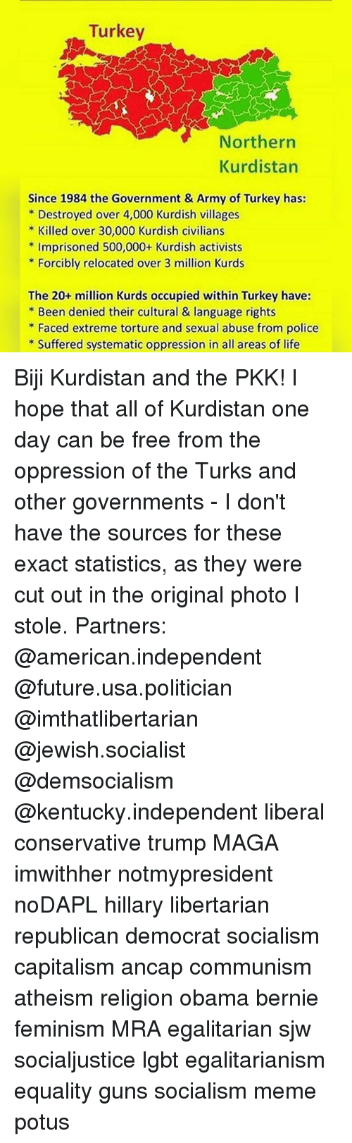 Feminism, Future, and Guns: Turkey  Northern  Kurdistan  Since 1984 the Government & Army of Turkey has:  Destroyed over 4,000 Kurdish villages  Killed over 30,000 Kurdish civilians  Imprisoned 500,000+ Kurdish activists  Forcibly relocated over 3 million Kurds  The 20+ million Kurds occupied within Turkey have:  Been denied their cultural & language rights  Faced extreme torture and sexual abuse from police  Suffered systematic oppression in all areas of life Biji Kurdistan and the PKK! I hope that all of Kurdistan one day can be free from the oppression of the Turks and other governments - I don't have the sources for these exact statistics, as they were cut out in the original photo I stole. Partners: @american.independent @future.usa.politician @imthatlibertarian @jewish.socialist @demsocialism @kentucky.independent liberal conservative trump MAGA imwithher notmypresident noDAPL hillary libertarian republican democrat socialism capitalism ancap communism atheism religion obama bernie feminism MRA egalitarian sjw socialjustice lgbt egalitarianism equality guns socialism meme potus