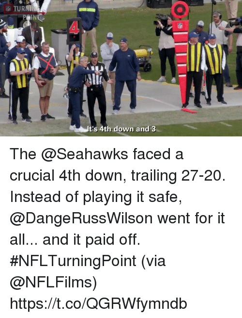 Memes, Seahawks, and 🤖: TURNI  4  t's 4th down and 3 The @Seahawks faced a crucial 4th down, trailing 27-20.  Instead of playing it safe, @DangeRussWilson went for it all... and it paid off. #NFLTurningPoint (via @NFLFilms) https://t.co/QGRWfymndb
