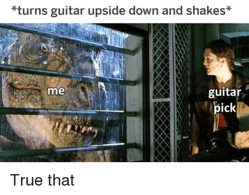 True, Guitar, and Down: *turns guitar upside down and shakes*  me  guitar  pick True that
