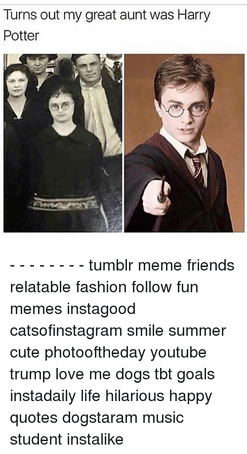 Turns Out My Great Aunt Was Harry Potter Tumblr Meme