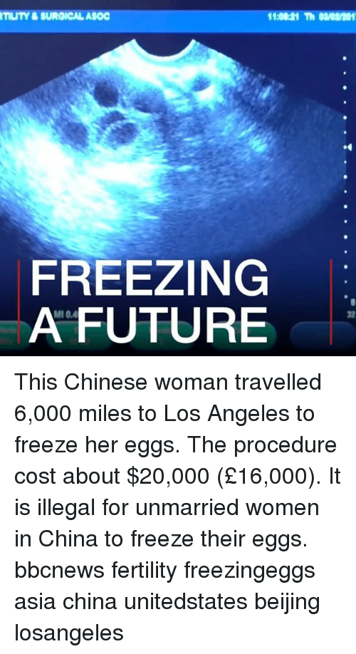 Beijing, Future, and Memes: TUTY&SUROICAL ASOC  FREEZING  A FUTURE  MI 0.4  32 This Chinese woman travelled 6,000 miles to Los Angeles to freeze her eggs. The procedure cost about $20,000 (£16,000). It is illegal for unmarried women in China to freeze their eggs. bbcnews fertility freezingeggs asia china unitedstates beijing losangeles